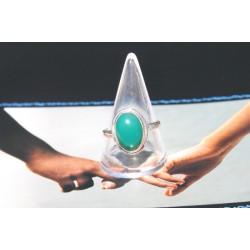 Bague argent et onyx vert (T59)