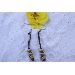 Boucles d'oreille bois et coton