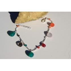Bracelet argent et pierres multi