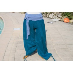 Pantalon coton indien bleu
