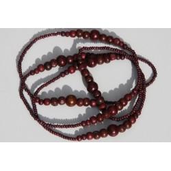 Collier de perles de bois chocolat