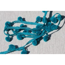 Galon pompons turquoise