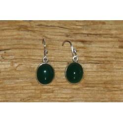Boucles d'oreille en argent et onyx vert