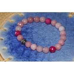Bracelet agate rose et argent.