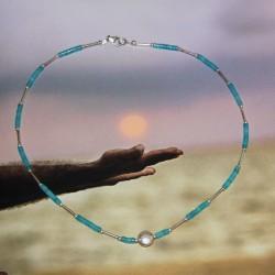 Collier perles azurite et argent