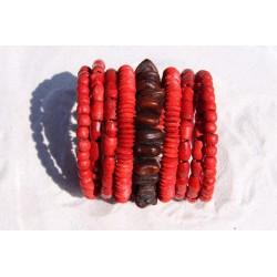 Bracelet bois et graines rouge
