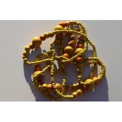 Collier de perles de bois kaki