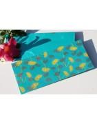 Carnet en papier recyclé et enveloppes de fête, emballages cadeau